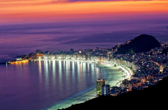 View of sunset on Copacabana beach in Rio de Janeiro. Brazil